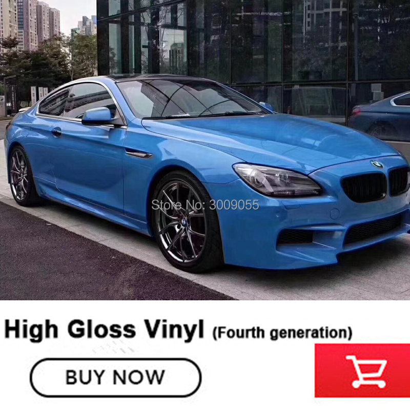 Fourth generation Newest blue Crystal glossy wrapping film For All Car Models   solvent based low initial tack adhesive