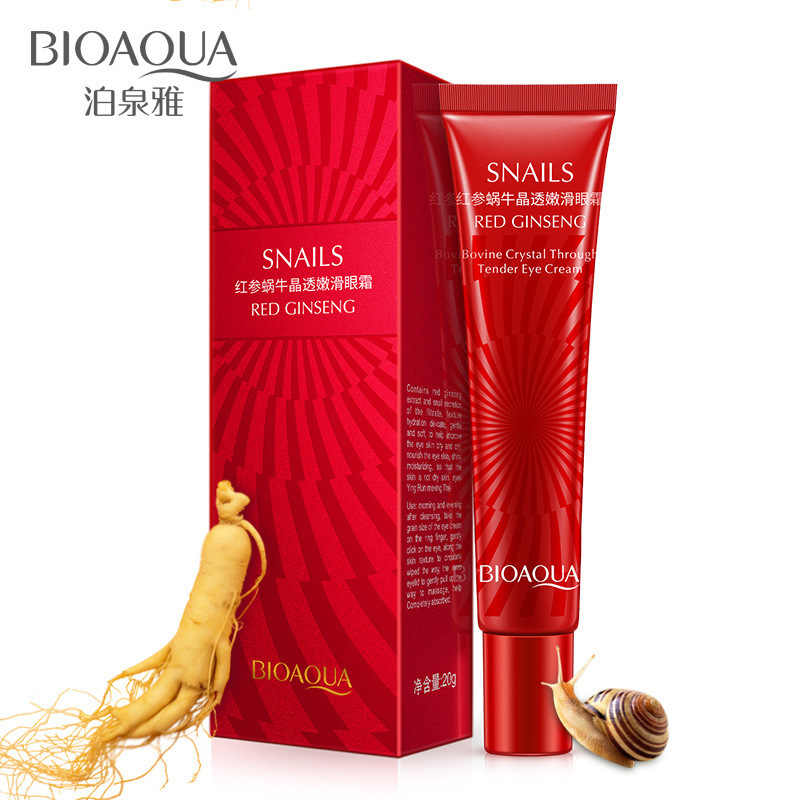 Bioaqua Natural Red Ginseng Snail Moisturizer Eye Cream Hydrating Remove Eye Bag Dark Circles Anti Wrinkles Men/women Skin Care