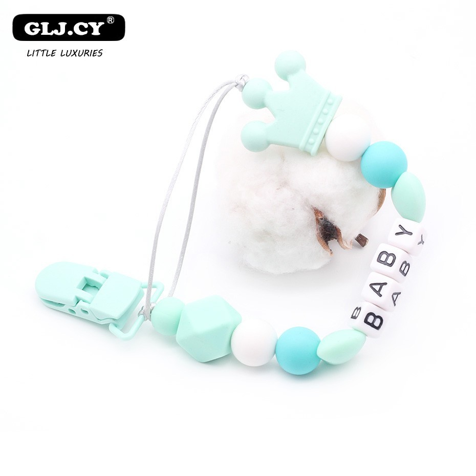 Crown Silicone Pacifier Clips Holder Chain Personalized Custom Name BPA Free DIY Baby Pendant Accessories Toys Hand Made
