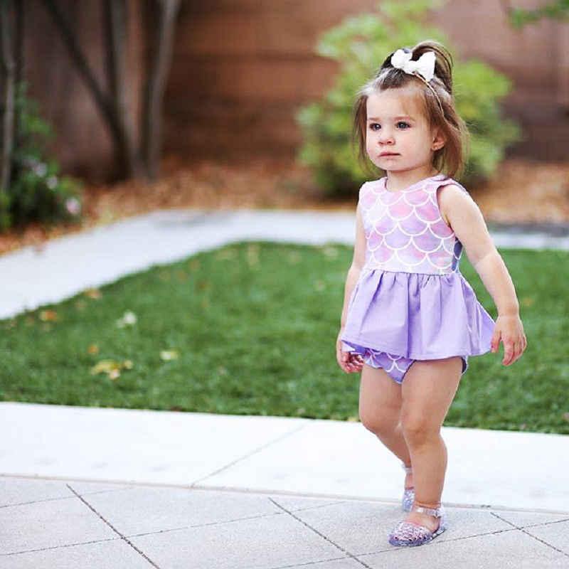 Летний комплект одежды для маленьких девочек, топы с русалками, платье + шорты, комплект из двух предметов, фиолетовая пляжная одежда, плавательный костюм