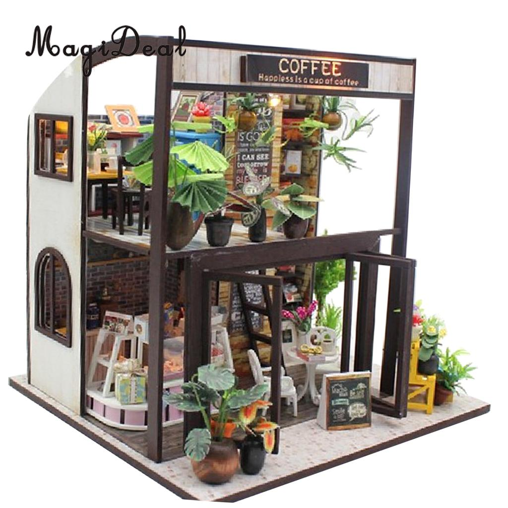 1:24 DIY Dollhouse Miniature Kit Time Travel Coffee House Craft Toy Kid Gift diy handicraft miniature musical dollhouse furniture project toy set w led light home decor birthday gift time travel