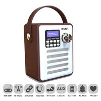 Retro Radio DAB Digital FM Portable Radio Alarm Clock Wooden Box Stickers Belt Bluetooth TF Card U Disk MP3