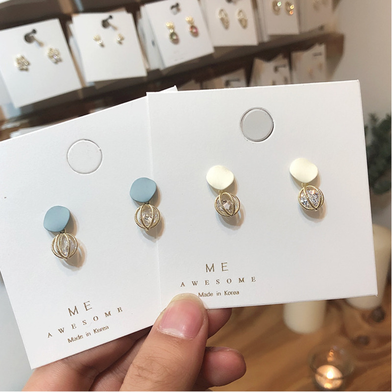 2019 Blue White Scrub Geometry Metal Hollow Out Round Stud Earrings CZ Crystal Earrings For Women Earrings Gold Jewelry Gift in Stud Earrings from Jewelry Accessories
