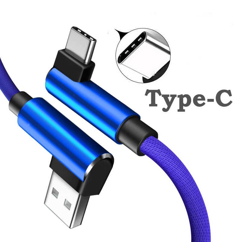 1 متر 2 متر 3A USB نوع C 90 درجة USB C كابل لسامسونج غالاكسي S10 s9 plus شياو mi 8 6 ماكس 3 LG USB C شحن سريع كابل بيانات