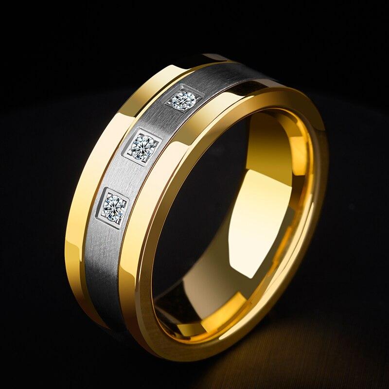 Nouveau Design 8mm tungstène anneaux pour hommes plaqué or bandes de mariage deux tons 3 CZ pierre promesse mariage taille 7-11 pour la mariée