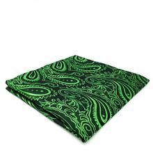 цена на CH35 Green Blue Paisley Men's Pocket Square Novelty Wedding Silk Handkerchief Fashion Classic