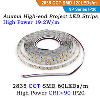 High Power 2835 WWCW CCT 19.2W 120LEDs/m IP20 DC24V 96W 600LEDs/Reel,5meter/Reel Non waterproof LED Strip for indoor hotel lobby