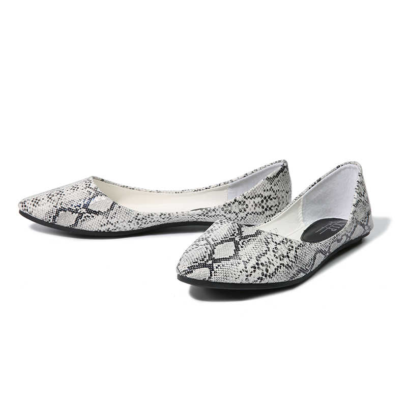 5fecf39eb2235 ... NIS Women Snakeskin Ballet Flats, Pointed Toe Flat Shoes For Ladies,  Male Casual Slip ...