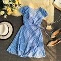 Verão 2019 coreano nova moda feminina vestido boêmio praia férias babados mini vestido elegante polka dot v pescoço vestido