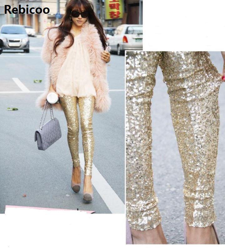 Sequin Trousers Women Sparkle Metallic Pants Women Sequin Pants Skinny Woman Trousers Stretch Pencil Pants High Waist