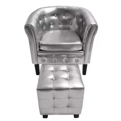 VidaXL Artificial Leather Barrel Tub Chair Armchair Club Bar Coffee Chair Single Sofa Living Room Furniture White Silver Gold