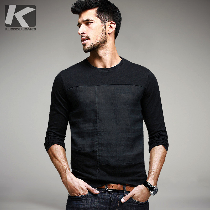 99d4911066b0 New Spring Fashion Mens Casual Patchwork T-Shirts Long Sleeve Brand Clothing  Man Slim Fit