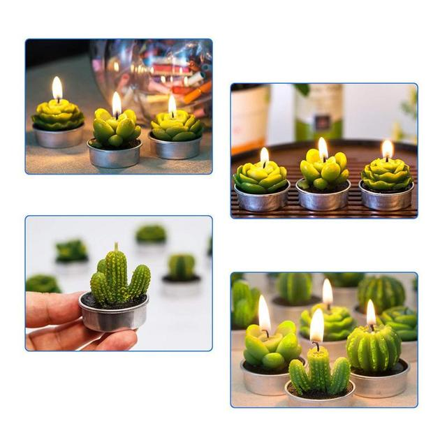 12Pcs New 3D Cactus Candles Creative Home Decoration Simulated Plants Smokeless Scented Candle Valentine Day Gift Party Ornament 2