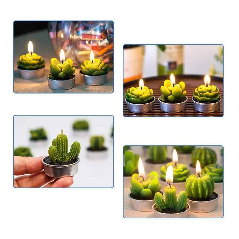 12 шт. новые 3D свечи в форме кактуса Креативные украшения для дома имитированные растения бездымные ароматические свечи подарок на день Святого Валентина вечерние украшения