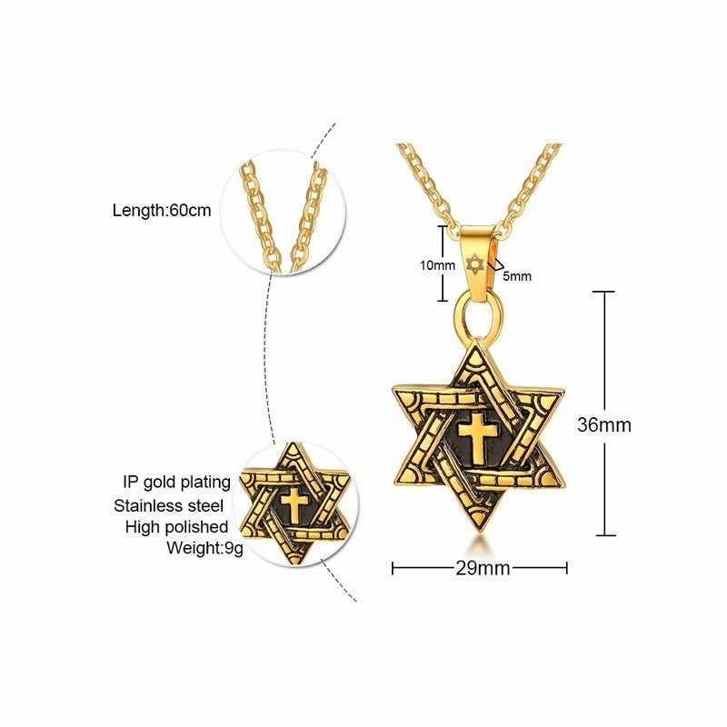 Messiânico estrela de david com cruz pingente colar para homens oxidada ouro prata cor megan jóias judaicas