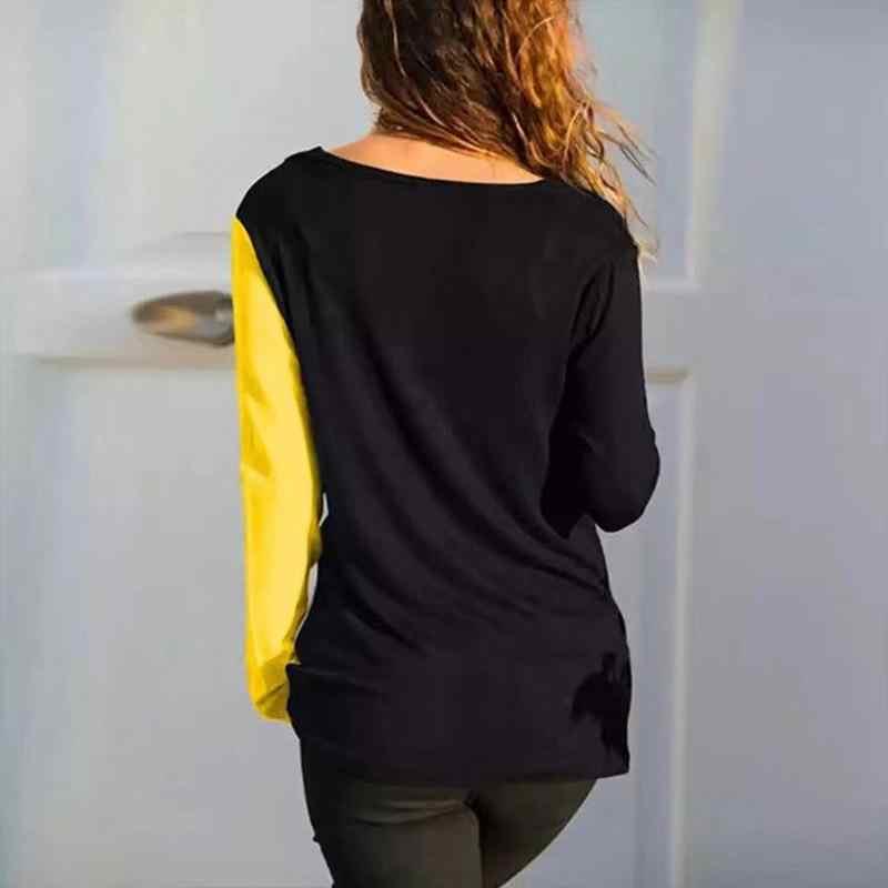 Осенняя женская футболка, Повседневная футболка с длинными рукавами в стиле пэчворк, сексуальные v-образные вырезы, женская футболка Poleras De Mujer Moda SJ1733X