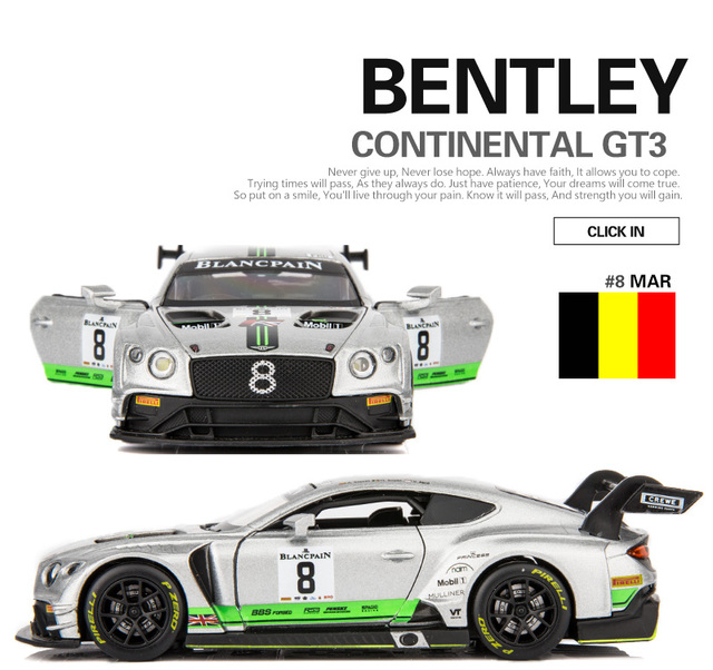 US $8 39 16% OFF|1:32 Scale/Diecast Metal Toy Model/Blancpain Racing  Bentley Continental GT3/Sound & Light Car/Pull back Educational  Collection-in