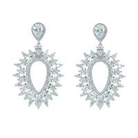 Full CZ Cubic Zirconia Dangle Bridal Wedding Earring for Women Jewelry Accessories Crystal Pierced Earrings Gift CE10154