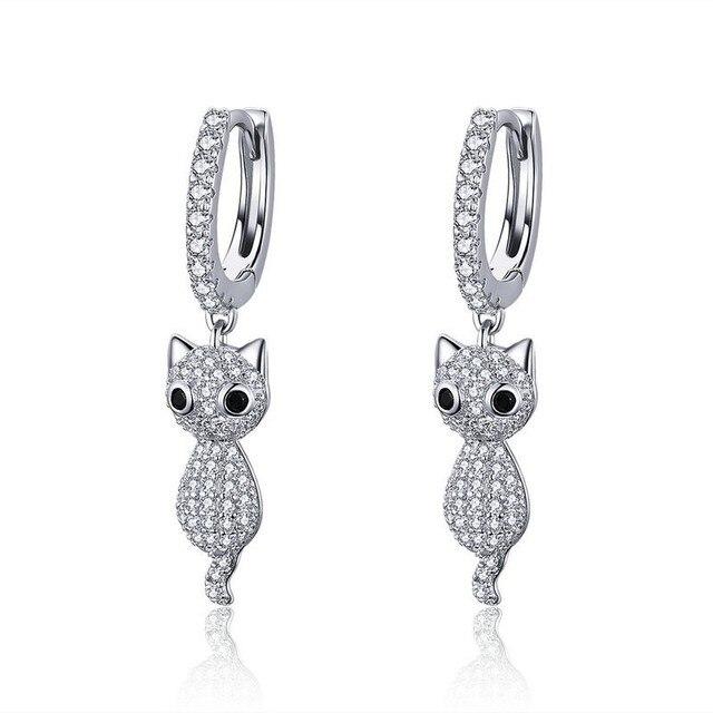 a1ea98517 925 Sterling Silver Cute Cat Crystal Pussy Dazzling Cubic Zircon Drop  Earrings for Women Sterling Silver