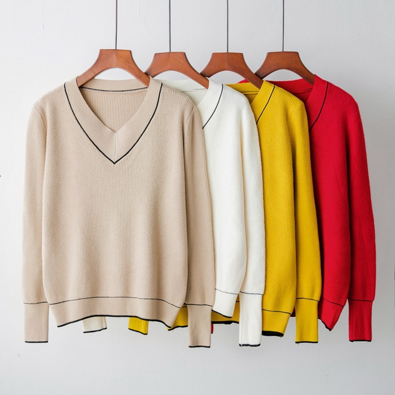 Mooirue Autumn Winter Women V-neck Sweater Knitted Long Sleeve Pullover  Female Basic Cashmere Yellow Red Jumper Casual Sweater f8eddc9e0