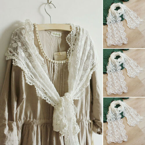 Women Lady Long Scarf Embroidery Floral Crochet Mesh Lace Trim Shawl Fashion Party Favors