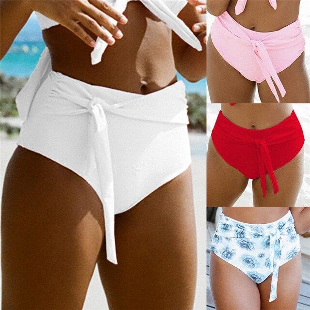 95940b0d200cf Sexy women bikini bottoms Swimwear Briefs High waist Swimming shorts lovely  lady Sporty Panty Bathing clothes 1pc 2019 New S~XL