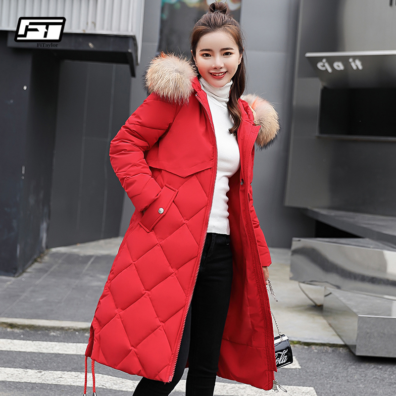 Fitaylor 2019 Winter Cotton Padded Jacket Women Fur Collar Medium Long Hooded Plus Size 3XL   Parkas   Female Snow Overcoat Outwear