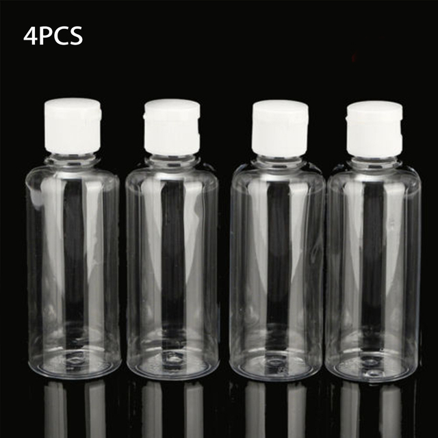 4pcs 100ml Bottle Plastic Liquid Shampoo Clear Makeup Container Lotion Multifunctional Travel Bottle Empty Cosmetic Containers