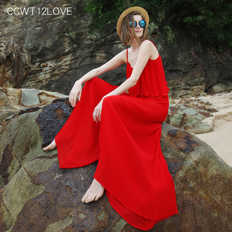 Women Red Backless Jumpsuit Beach Casual Strap Wide Leg Jumpsuit Summer 2020 Chiffon Long Trousers Pleated Beachwear