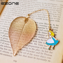 Купить с кэшбэком EZOBE Metal Bookmark Lovely Alice Rabbit Book Marks High-Grade Gold Leaf Texture Reading Pages Books Mark Student Stationery