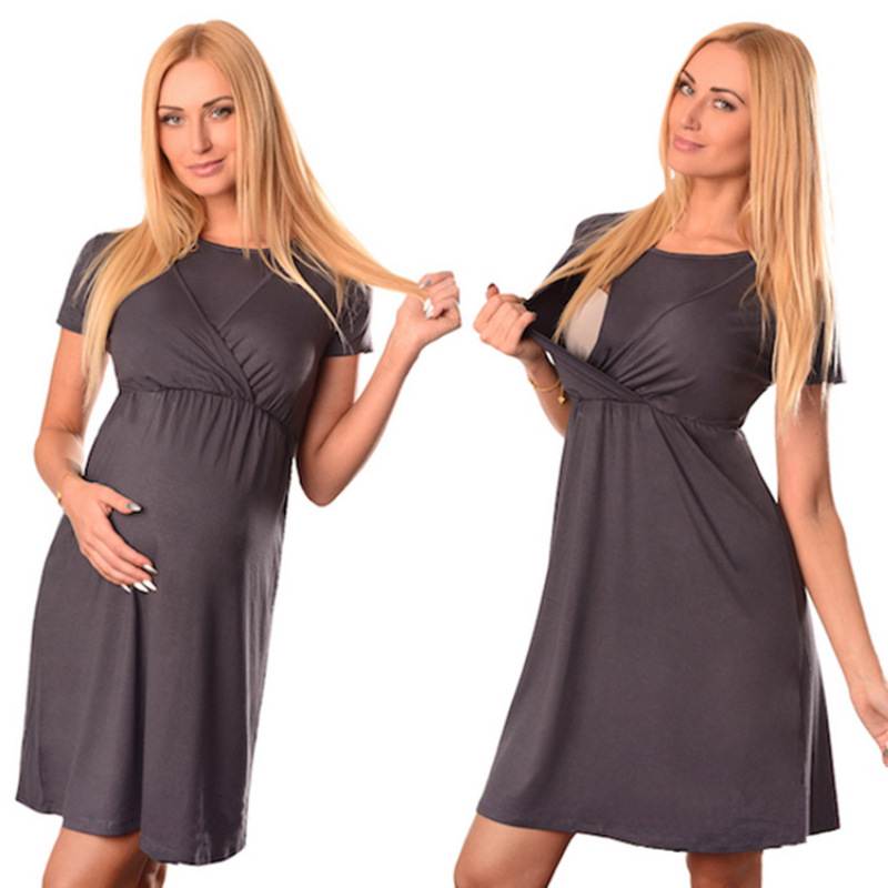 Maternity Breastfeeding Dresses Pregnant Women's Short Sleeve Fold Maternity Dress Comfy Maternity Nursing Cotton Dress Summer