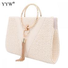 Straw Zinc Alloy Tassels Handbag For Women 2019 Wedding Party Clutch Bags With Chain Circular Ring Bolsa Feminina Purse Evening