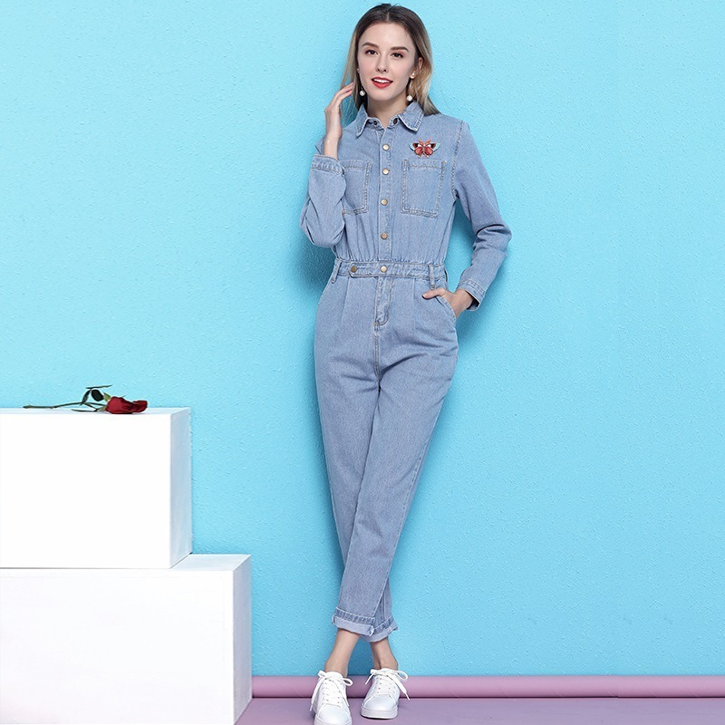 Ladies jumpsuits 2019 new release Spring Butterfly Embroideried High Waist women 39 s fashion rompers denim jumpsuit feminino in Jumpsuits from Women 39 s Clothing