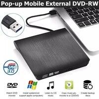 USB 3,0 тонкий внешний DVD-RW CD Писатель Привод горелки ридер плеер оптические диски для портативных ПК