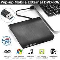 USB 3.0 Dünne Externe DVD RW CD Schriftsteller Stick Brenner Reader Player Optische Laufwerke Für Laptop PC