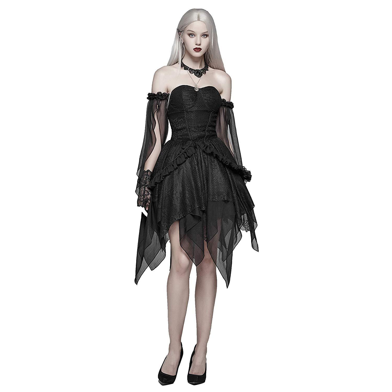PUNK RAVE Vrouwen Gothic Lolita Zwart Kant Sexy Jurk Mode Chiffon Mini Party Dress Avond Party Slash Neck Fashion Jurken