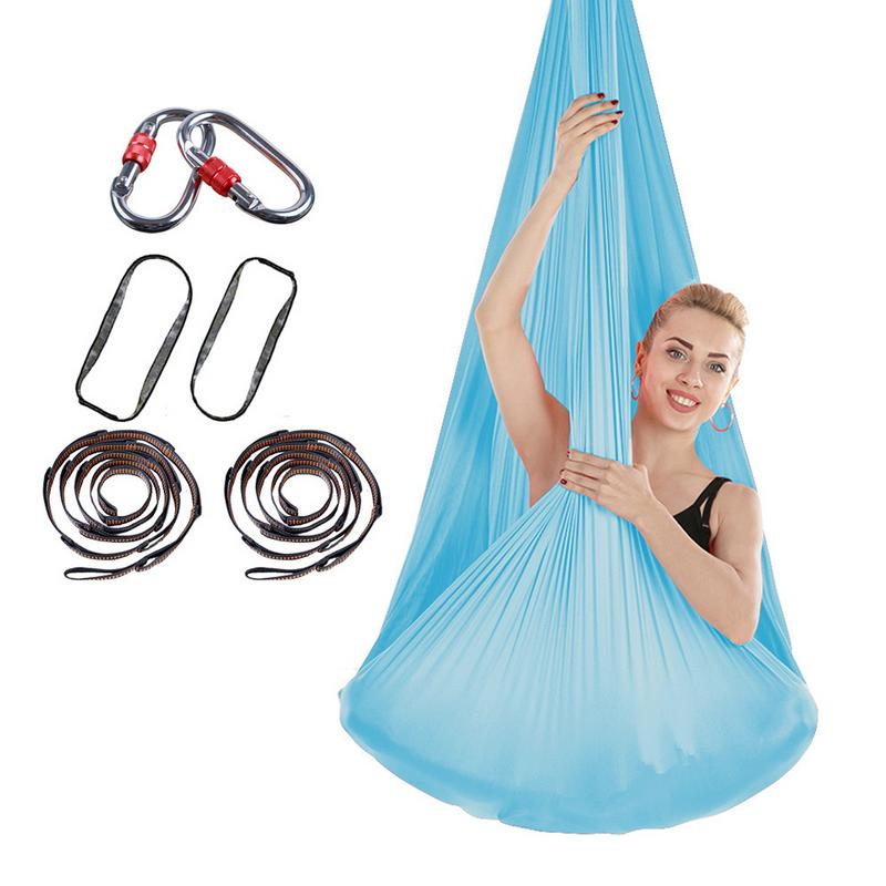 Stretchy Aéreo Rede Estendida com Mosquetão Conjunto Yoga Elástico de Seda Anti Gravidade Balanço Interior Últimas Cintos de Treinamento Esportivo