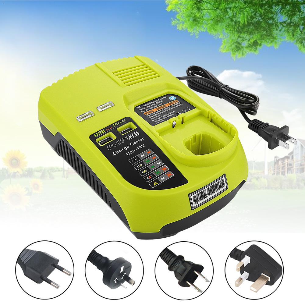 Charger For RYOBI P117 12V 18V Lithium Nickel Universal Battery Charger With USB Interface Dropship Supporting
