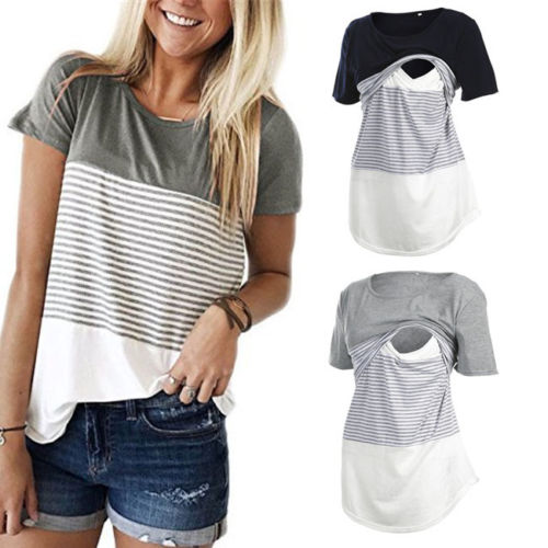 Hirigin Comofrt Maternity Nursing Top Short Sleeve T-Shirts for Female Leisure Stripe Women Breastfeeding Girl Clothes Wholesale