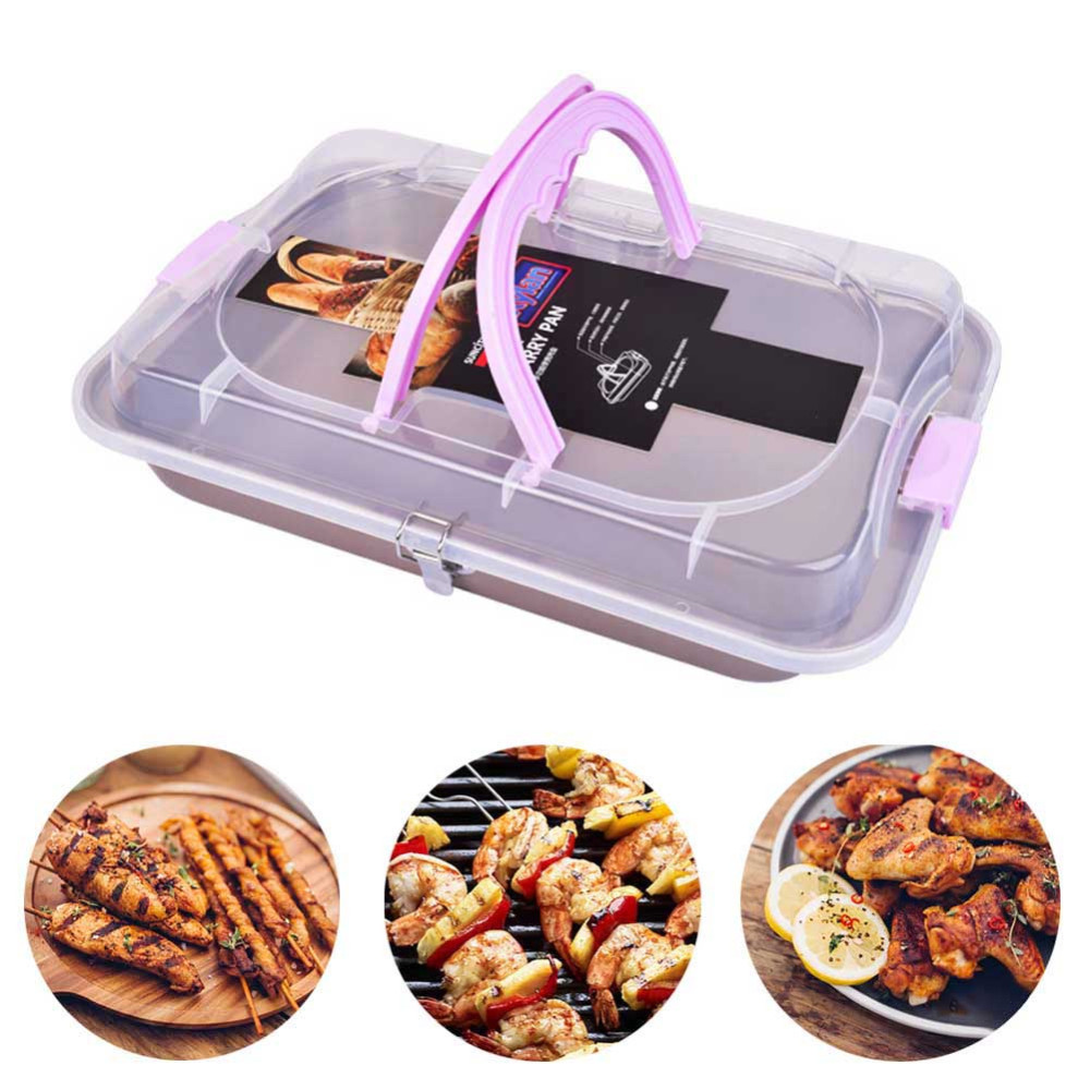 Lufeiya Baking Tray with Lid for Toaster Oven  Deep Baked Trays Nonstick baguette Cake tin Sheet Pan Carrier