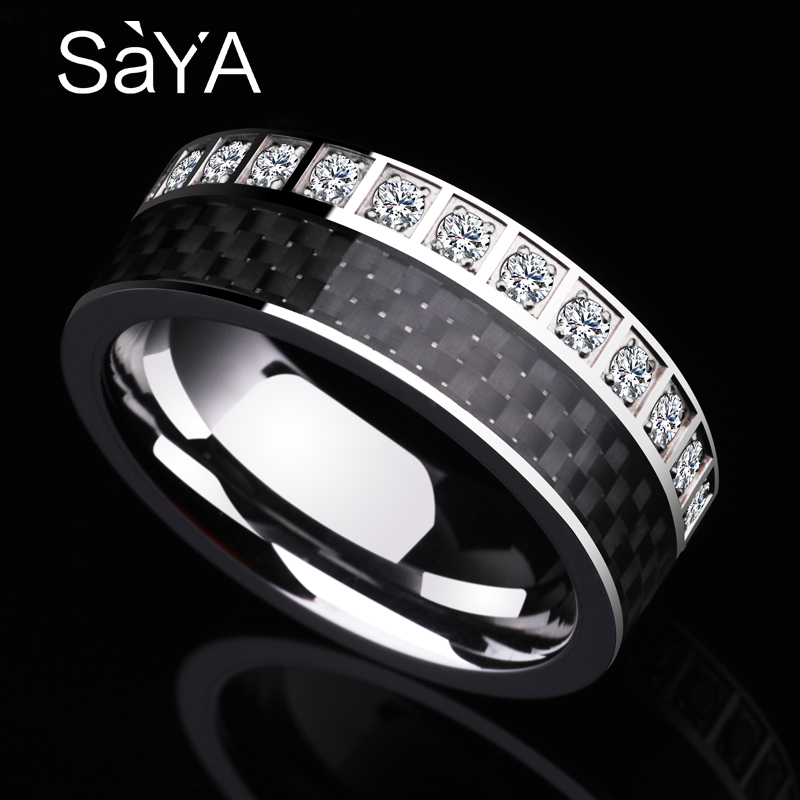 New Arrival Luxurious 8MM Width Tungsten Men's Engament Rings Band inlay Black Carbon Fiber and Shiny CZ Stones Size 7 11