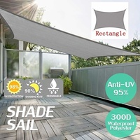 Grey 300D 160GSM Waterproof Polyester Oxford Fabric Shade Sail Rectangle