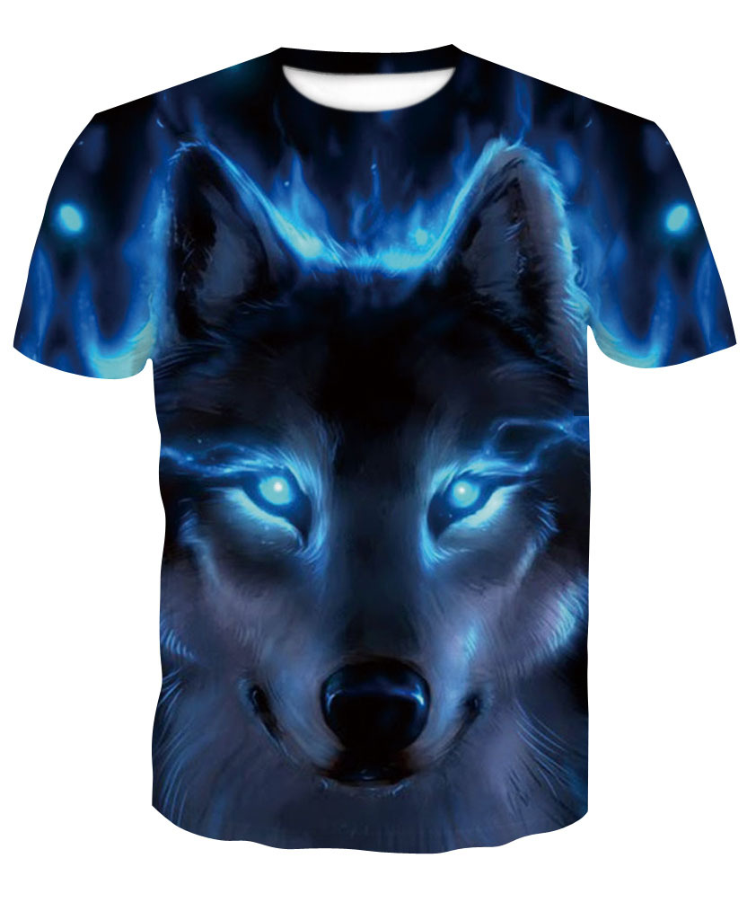 Men's 3D Digital Print Blue Wolf Short Sleeve O-neck T-Shirt Fashion tee for mans