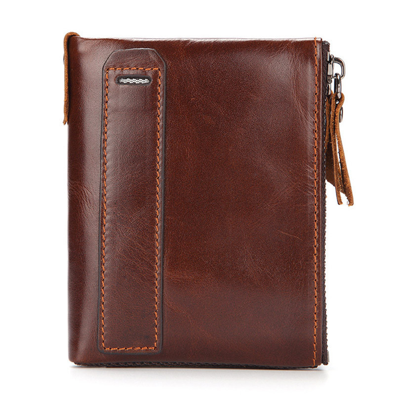 Vintage Genuine Leather Men Wallets Short Coin Purse Double Zipper Male Cowhide Card Holder PR006022 simline vintage genuine leather cowhide men male short slim mini thin zipper wallet wallets purse card holder coin pocket case