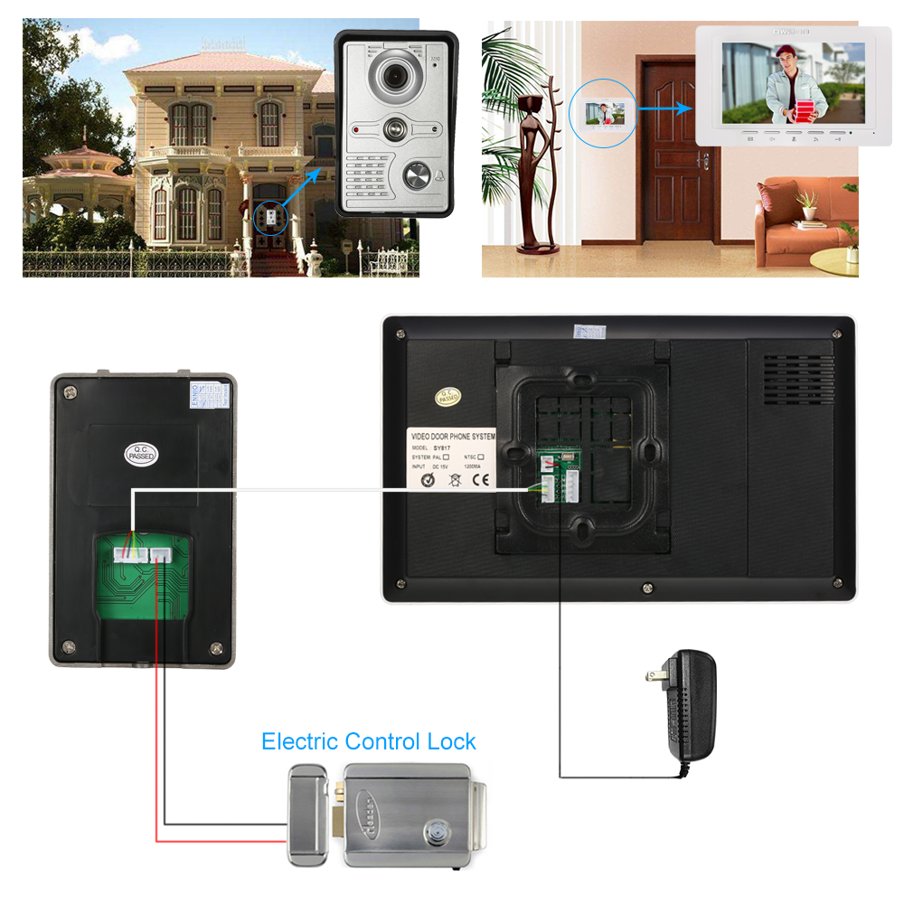 OWSOO 7 inch Wired Doorbell intercom with Rainproof Camera and Remote Unlock 2