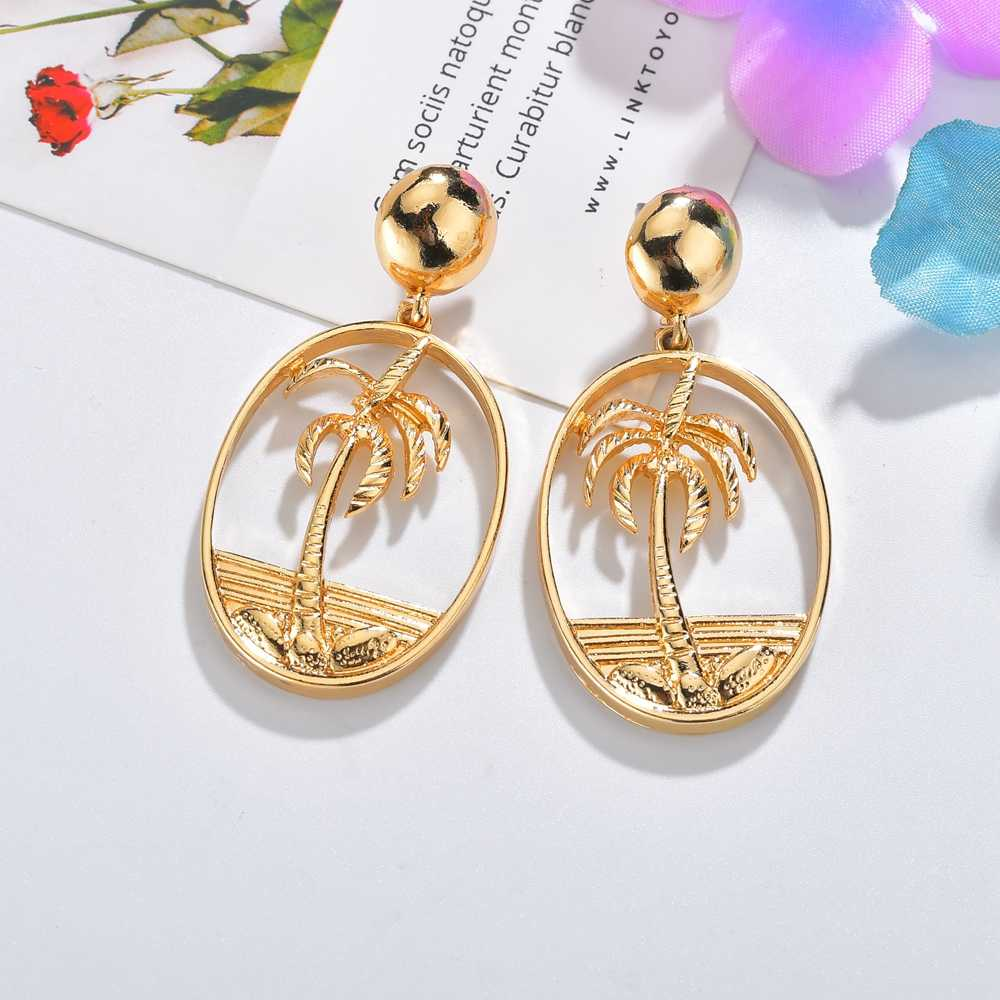 2019 Vintage Fashion Women Coconut Palm Tree Drop Earring Big Oval Circle Drop Earrings For Summer Holiday Hawaii Earring Jewel