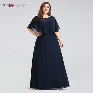 Image 4 - Evening Dresses Long 2020 Ever Pretty Cheap Elegant Navy Blue A line Chiffon Evening Gowns For Women Short Sleeve Robe De Soiree