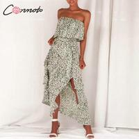 Conmoto Bohemian Split Sexy Maxi Beach Summer 2019 Dress Women Strapless Ruffle Vintage Long Dress Casual Sexy Dresses Vestido