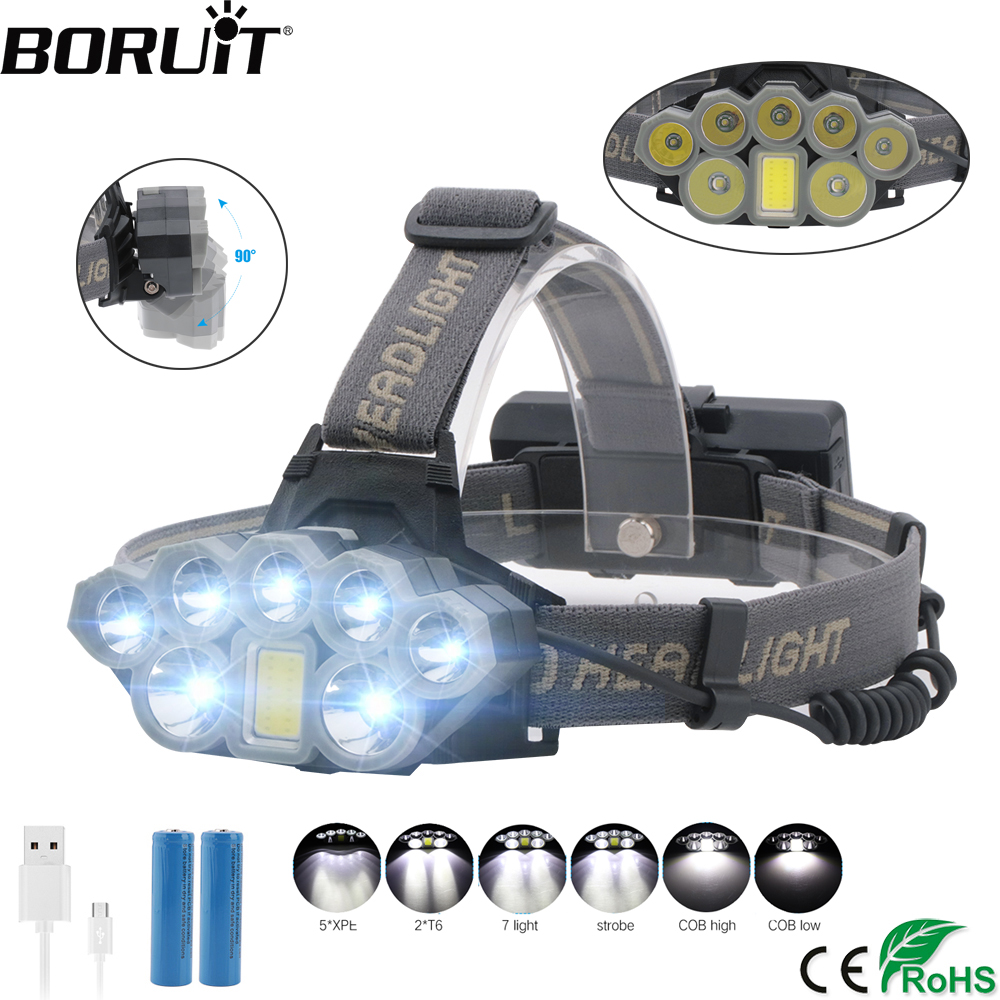 7000Lm Led Head Lamp T6+2COB LED Headlamp Headlight Camping Hunting Light