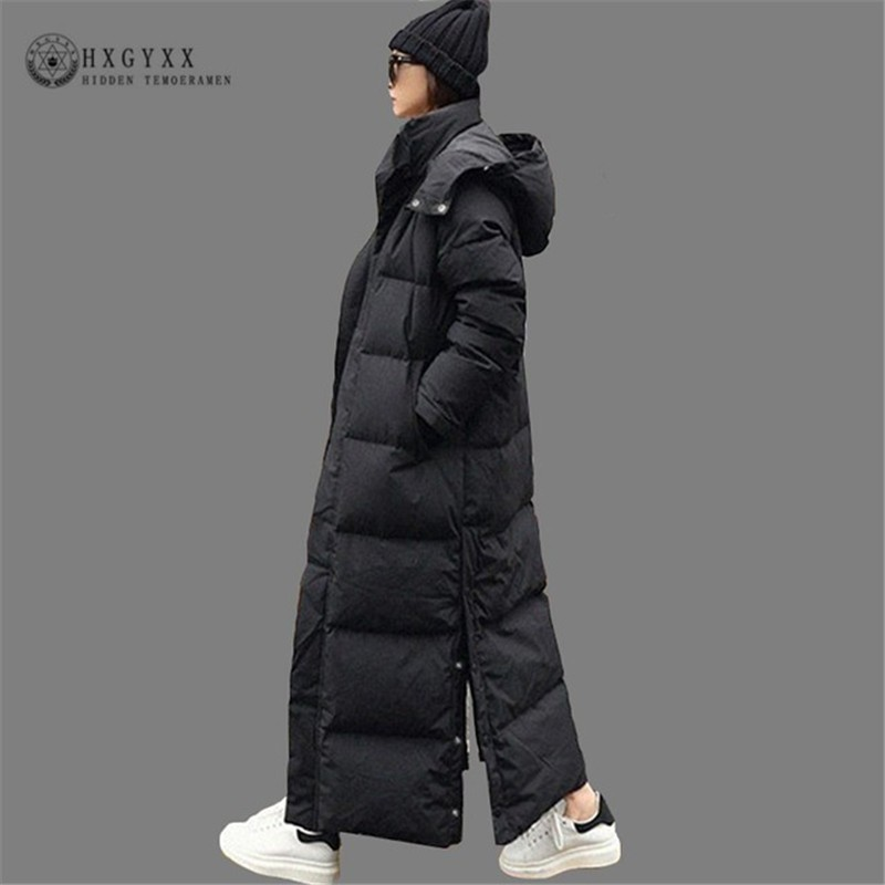 X-long Winter Jacket Women 2019 Casual Black Split Hem Hooded   Parka   Female Thick Warm Cotton Coat Slim Plus Size Outwear Okd652